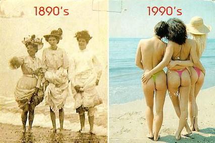 Foto a confronto. 100 Anni di donne al mare