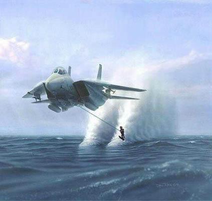 Scii nautico con l'aereo militare